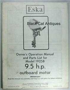 Original Eska Outboard Motor Owners Manual Parts List 9 5