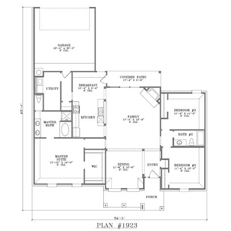 open home plans rear garage