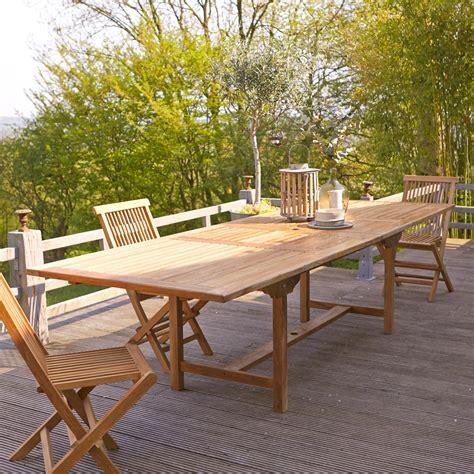 table de jardin 224 rallonges en teck vente meuble d ext 233 rieur tikamoon