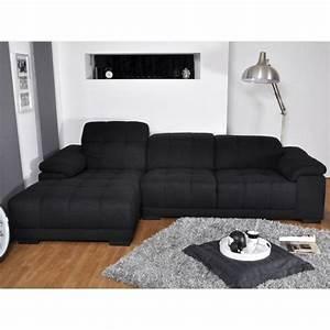 Canape D Angle Noir Tissu Maison Design