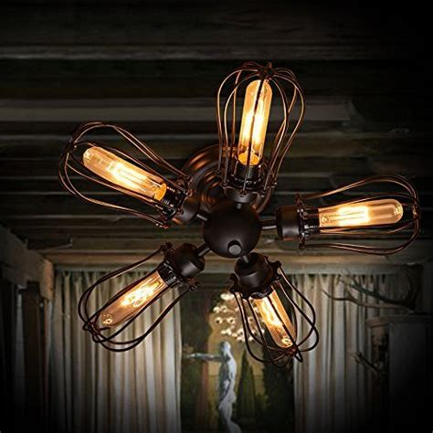 classic ceiling fans with lights efinehome efine 5 lights vintage industrial pomelo cage