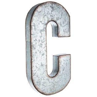 put  vintage inspired spin  monogram letters   stylish large galvanized metal letter