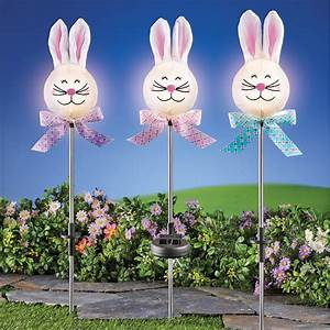 Solar-powered, Sparkling, Led, Lights, Easter, Bunny, Yard, Stakes, Decorations, -, Set, Of, 3
