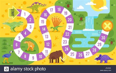 Los niños deben sentarse en un círculo y se le da el regalo al cumpleañero. Estilo plano Vector ilustración de niños juegos de mesa con los dinosaurios plantilla. Para ...