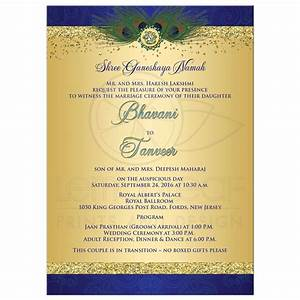 wedding invitation peacock feathers cascade faux gold With royal hindu wedding invitations