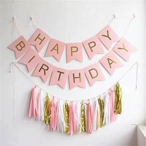 Gold Pleated HAPPY BIRTHDAY Pink banner + 15pc tassels Kit