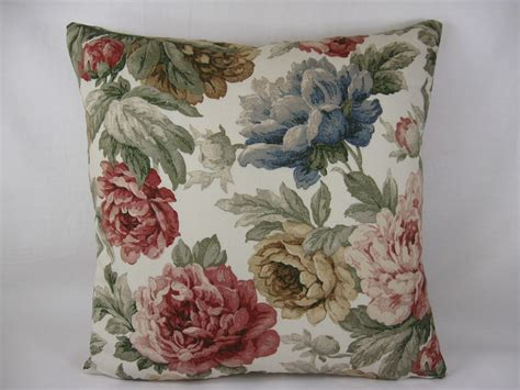 Red Blue Rose Country Shabby Chic Floral Cushion