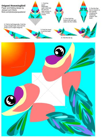 origami hummingbird template  printable papercraft
