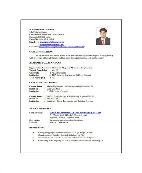 mechanical engineering resume templates
