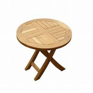 Petite Table Basse Pliante : table basse pliante ronde en teck diam 50 cm achat vente table basse jardin table ronde ~ Melissatoandfro.com Idées de Décoration