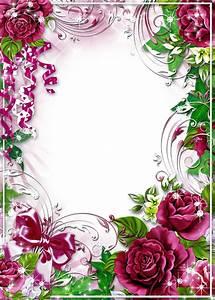 Flower-Photo-Frame-Burgundy-Roses.png (914×1280 ...