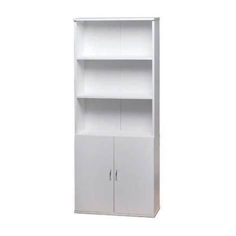 white wooden bookcase shelves 2 doors cupboard cabinet