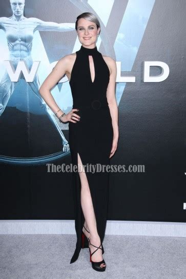 evan rachel wood black halter high slit evening prom gown westworld premiere