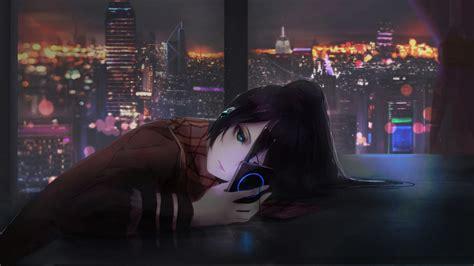 wallpaper anime girl night  art