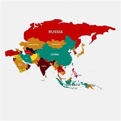 Asia Map Vector Colorful Ai Continent Peta