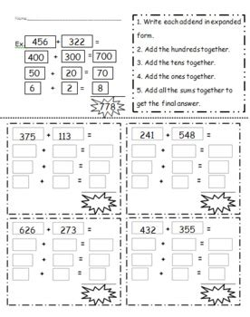 3 Digit Addition Using Expanded Notation By Chelsea Bosen Tpt