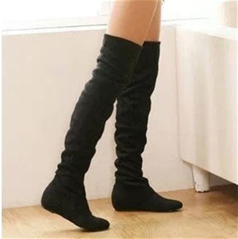 flat bottom boots  women autumn winter   knee