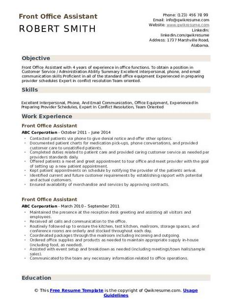 Office Assistant Resume by Front Office Assistant Resume Sles Qwikresume