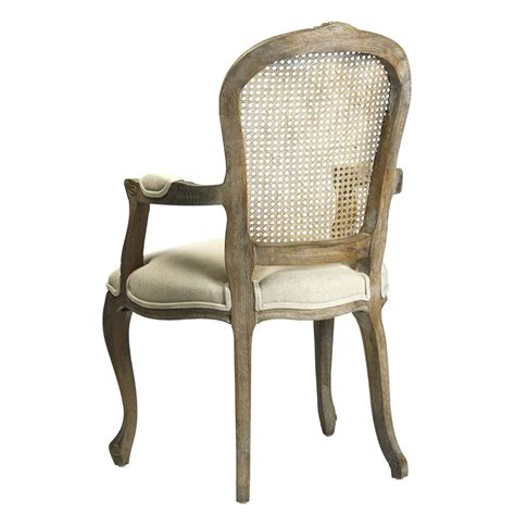 lyon country back linen dining arm chair
