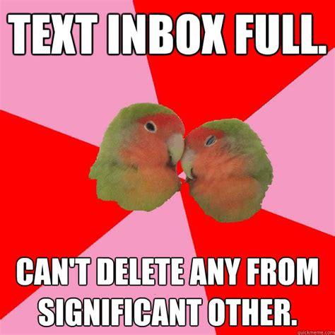 Inbox Meme - text inbox full can t delete any from significant other annoying lovebirds quickmeme