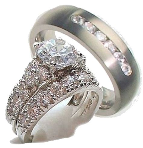 his hers 3 engagement wedding ring set 925