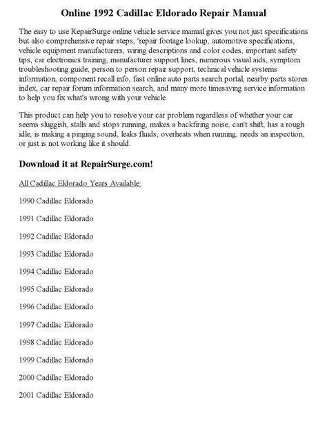 how to download repair manuals 2001 cadillac eldorado on board diagnostic system 1992 cadillac eldorado repair manual online by precious pim issuu