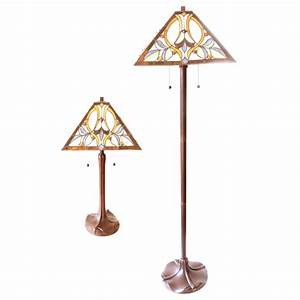 Matching floor and table lamp set lamps ideas for Overstock tiffany floor lamp
