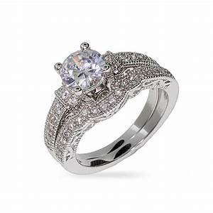 Victorian style sterling silver and cz wedding ring set ebay for Silver band wedding rings