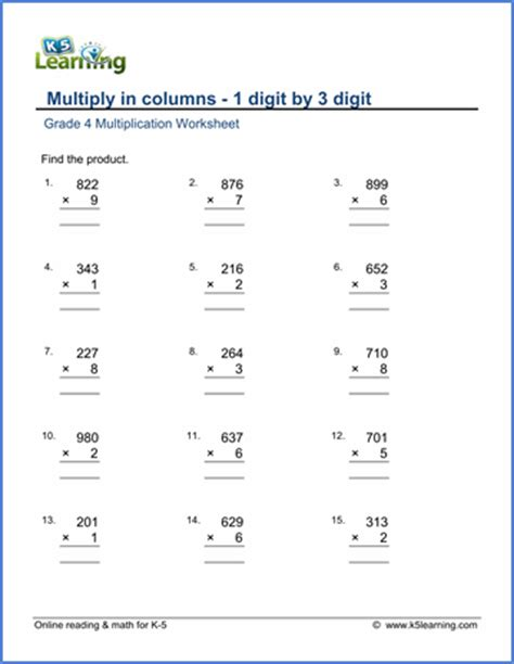 grade 4 multiplication worksheets free printable k5