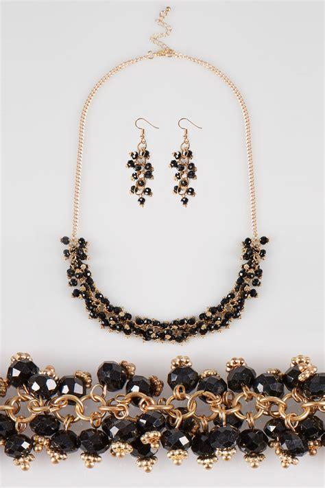gold black beaded necklace earrings set