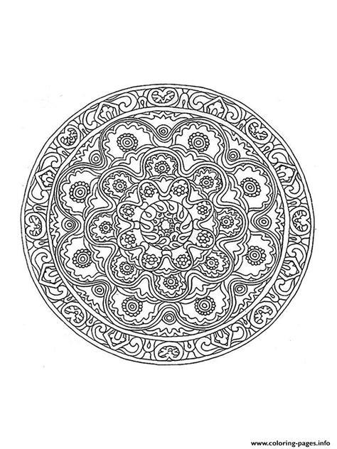 Coloring Mandala by Mandala Difficult 1 Coloring Pages Printable