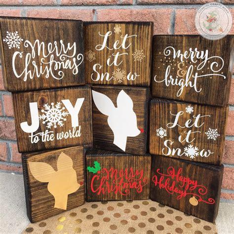 christmas wood block set christmas sign christmas decor