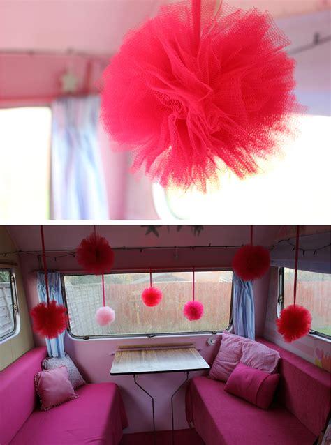 vintage caravan diy pom pom decorations  thrifty