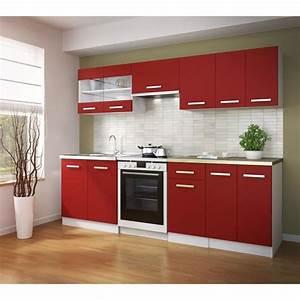 ultra cuisine complete 2m40 rouge mat achat vente With awesome meuble de cuisine en bois rouge 0 cuisine moderne en bois