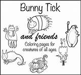 Coloring Adult Tick Friends Bunny sketch template