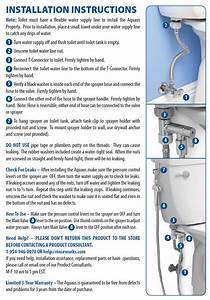 Aquaus Bidet Installation Instructions   Rinseworks