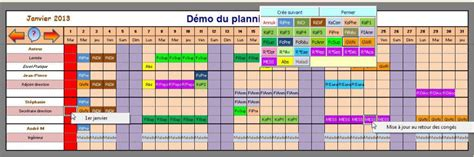 modèle planning congés excel gratuit excel planning mensuel multi usages