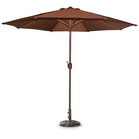9 aluminum pole crank tilt patio umbrella henna
