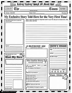 Instant personal poster sets extra extra read all about me for Free printable newspaper template for students