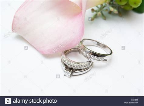 white gold and wedding rings and an engagement