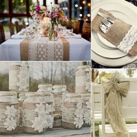 Rustic Wedding Table Linens Burlap And Lace Wedding