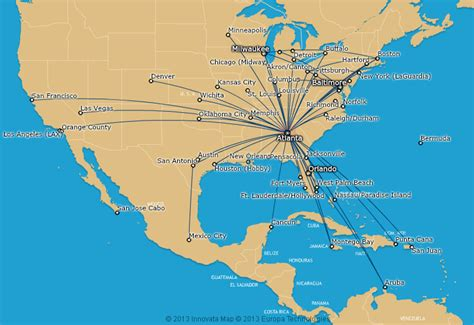 AirTran Airways route map - from Atlanta