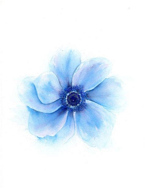 feng shui decor blue flower watercolor floral print from srorickart on etsy
