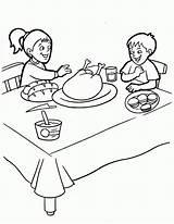 Colorear Mesa Dibujos Coloring Pintar Thanksgiving Desenhos Ninos Feast Dibujo Comiendo Az Colorir Popular Gracias Accion Dia Luas Estrelas Imagen sketch template