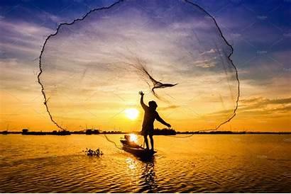 Fishing Throwing Fishermen Sea Sunset Pwc Creative