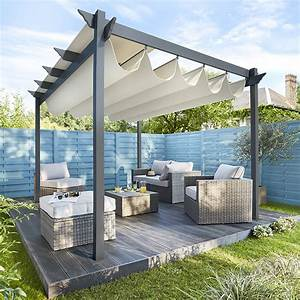 tonnelle blooma clipperton 3 x 4 m tonnelles castorama With rideau pour pergola exterieur 9 terrasse couverte abri de terrasse pergola tonnelle