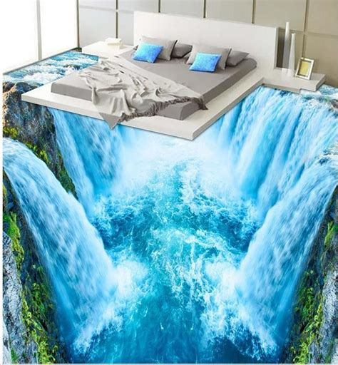wallpaper  floor murals pvc  waterfall bathroom
