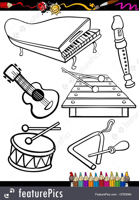 templates cartoon  instruments coloring page stock