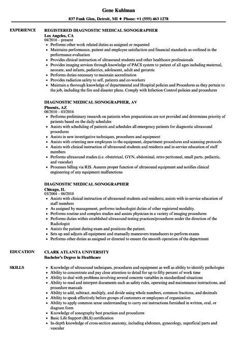 Diagnostic Sonographer Resume by Diagnostic Sonographer Resume Sles Velvet