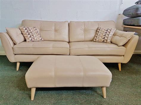 Cheap Leather Settees by Ex Display Connection Zinc Leather 4 Seater Sofa 163